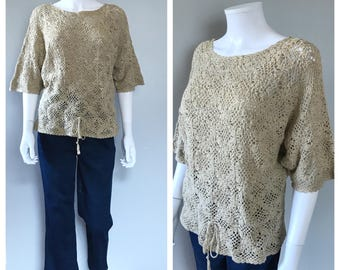 Vintage 70s Crochet Top Daisy Top Bohemian Granny Square Sweater