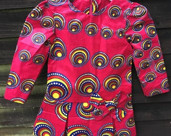 Ankara Children's Dress Red Bubble Dress