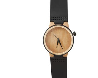 7PLIS watch #070 Recycled SKATEBOARD #madeinfrance Black beige wood