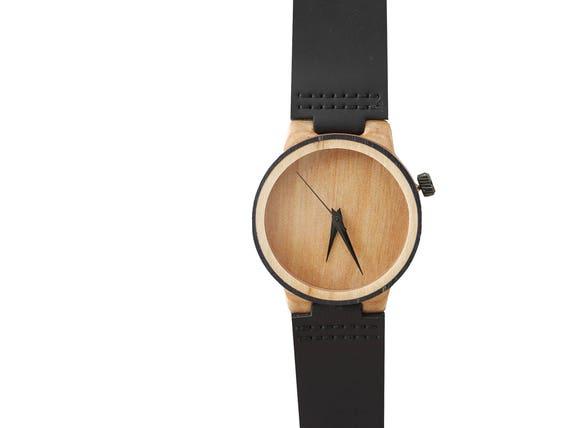 7PLIS watch #070 Recycled SKATEBOARD #madeinfrance Black beige wood