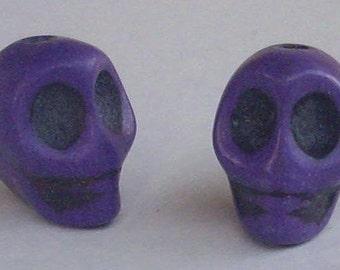 10 beads skull purple 13 x 12 mm - howlite.