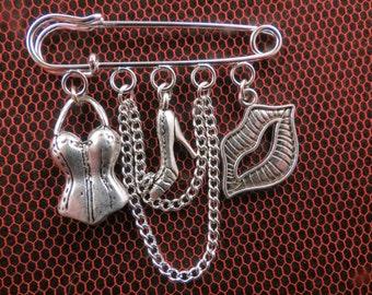 Rocky Horror Show Frank N Furter kilt pin brooch (50mm).
