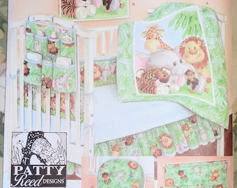 Simplicity 3954 Sewing Pattern Nursery Accessories Patty Reed Designs 2006 Baby Toddler Quilt Sheet Crib Bumper Dust Ruffle Crib Caddy