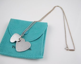 Tiffany & Co. Sterling Silver Double Heart Pendant Necklace 18in.