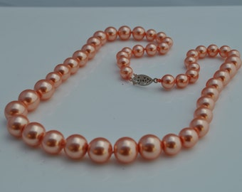 Graduated Glass Pearl Hand Knotted Necklace