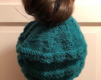 Knit Messy Bun Beanie Hat, Ponytail Hat