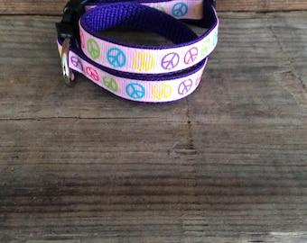 Peace Signs Dog Collar