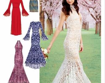 Formal Gown Pattern, Mermaid Gown Pattern, Formal Dress Pattern, Halter Dress Pattern, McCall's Sewing Pattern 7569