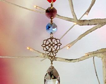 Crystal Pirsm Sun Catcher, Christmas Ornament, Jewel Tone, Filigree, 1S-28