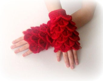 Fingerless Gloves , Red, Winered, with glitter,