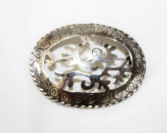 Sterling  Brooch Mexico Vintage 1960s Jewelry