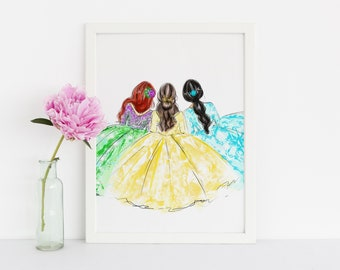 Three Princesses  (Fashion Illustration Print) (Little Girl Room Decor- Fashion Sketch prints - Home Decor - Wall Decor )