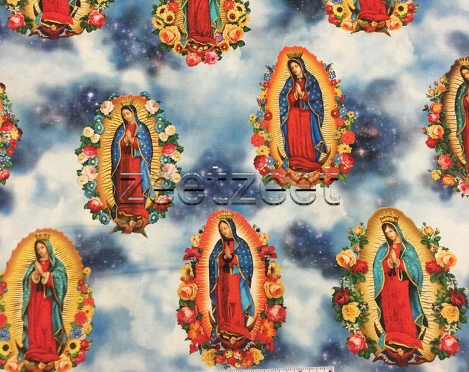VIRGIN of GUADALUPE - Blue Virgin Mary Cotton Fabric by the Yard, Half Yd, or Fat Quarter Robert Kaufman Inner Faith Religious Holy Mother