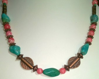 Turquoise Stone/Ceramic Necklace and Earrings