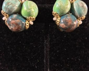 Vintage Chunky Clip Earrings, Signed
