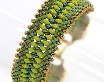 Chartreuse/Gold Beaded Cuff, Bead Weaving Cuff Bracelet, Green/Gold Kumihimo Braided Cuff