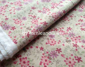 """Japanese cotton fabric,  sevenberry floral print cotton flannelette fabric, half yard by 41"""" wide, quilting patchwork fabric, made in Japan"""