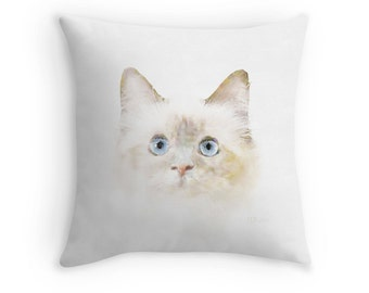 Kitten Scatter Cushion, Blue Eyed Cat, 16x16 Throw Pillow, Cat Painting, Gift for Cat Lover