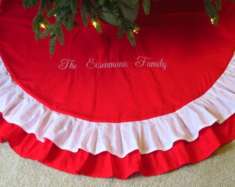 """Personalized Ruffle 60"""" Christmas Tree Skirt in Red and White or Design Your Own with Monogrammed Decoration"""
