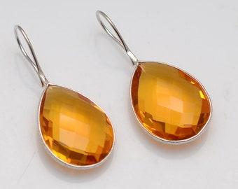 925 Sterling silver citrine Quartz Gemstone Bezel Earrings Handmade