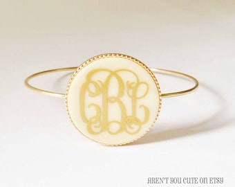 Monogrammed Gold Toned Bangle Bracelet