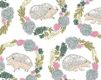 White Hedgehogs - Garden Sanctuary - Rae Ritchie - Dear Stella Fabric- ST-SRR858WHT Quilters Cotton Poplin