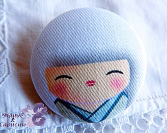 Button printed Japanese doll cloth, 1.25 in / 32 mm diameter