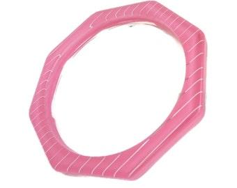 Pink Bangle, Vintage Octagon Bracelet, Striped Bangle, Octagon Bangle, Lucite Bracelet, Retro Jewelry, Gifts