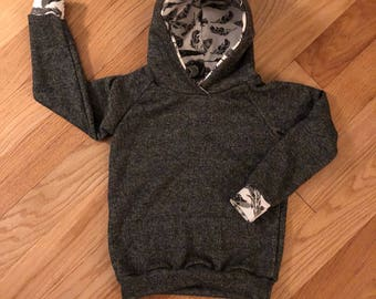 Black Hoodie with Feather Accents Size 5/6 T