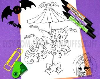 Halloween Carousel - Bat Pony  - Clip Art - Digital Stamp