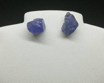 tanzanite earrings, tanzanite studs, rough tanzanite earrings, raw tanzanite earrings, rough tanzanite studs, 6.3 cts sterling  .925 silver