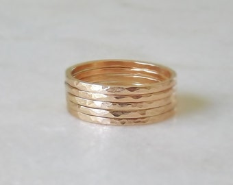 Gold Ring Stack Set, 14k Gold Filled Stacking Rings, Stackable Rings, Hammered Rings, Minimalist Jewelry, Etsy Gifts, Boho Jewelry, 5 Rings