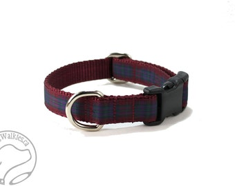 """Pride of Scotland Autumn Tartan Dog Collar - 3/4"""" (19mm) wide -  Martingale or Side Release - Choice of style and size - Burgundy Plaid"""