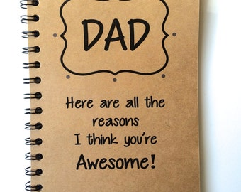 Fathers Day Gift, Dad Gift, From Daughter, From Son, Journal, Notebook, Thank You, Personalize, Dad, Notebook, gift, meaningful, Sketchbook
