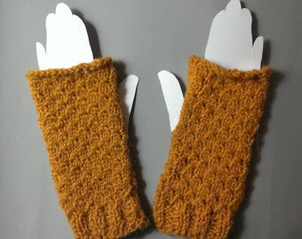 Arm warmers women's knitted handmade mustard color