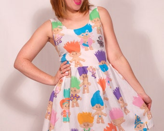 Treasure Troll Dress from Vintage 80's Sheets MADE TO ORDER