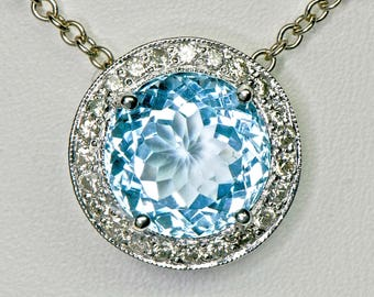Sky Blue Topaz 14 Kt Gold Pendant w Chain