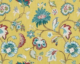 Teal Red Upholstery Fabric - Modern Gold Teal Floral Curtains - Custom Teal Red Pillows - Gold Teal Red Floral Roman Shade - Teal Red Decor