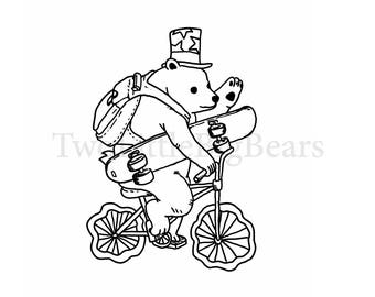 1031 SVG/JPG Cute Bear riding a bicycle with a skateboard Hand Drawing