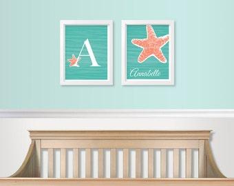 Tropical Nursery Art - Under the Sea Nursery Art SET - Baby Monogram Prints - Baby Girl Monogram - Baby Room Wall Decor - Aqua / Turqouise