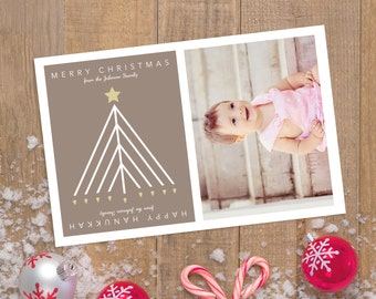 Custom Christmas and Hannukah Interchangeable Christian Jewish Family Holiday Card with Photo, Printable Design for Chanukah Menorah Tree