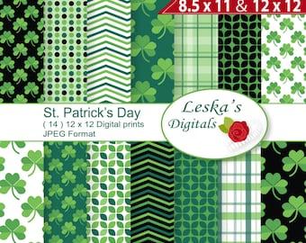 St Patricks day digital paper, Irish digital paper, printable St Patrick's day paper, shamrock background, shamrock digital paper, Clover
