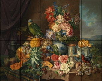 "30"" x 24"" Parrots and Pineapples- Ceramic Tile Mural Backsplash or Wall Decor'"