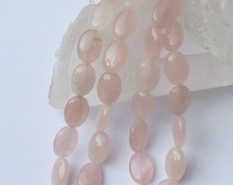 Rose Quartz Beads - 10x15mm Flat Ovals - 8 Inch Strand of 14 Beads