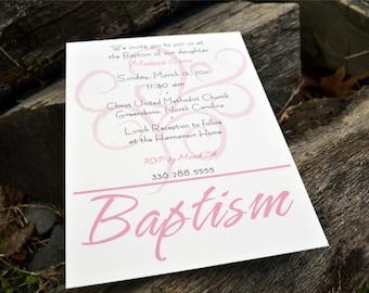 Girls Baptism Invitation or Announcement Beautiful Swirl