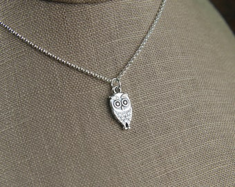 Owl charm necklace in sterling silver, owl necklace, sterling silver owl, owl jewelry, oxidized charm, bird charm, owl wings