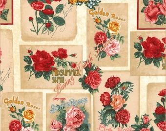 "Robert Kaufman ""Heirloom Diary"" #16067-200 Roses Blocks Cotton Fabric Priced Per 1/2 Yard 18"" x 44"""