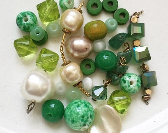 green and white salvaged bead destash--mixed lot of 30