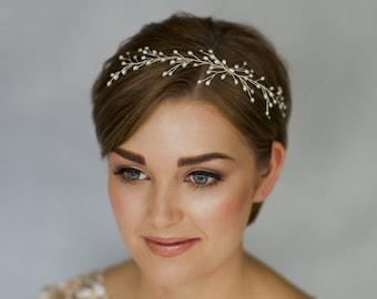 Pearl hair vine, gold rustic hairvine, rustic hairvine, twig hairvine, woodland hairvine, branch hairvine, wedding hairvine - Rosie