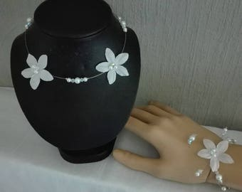 bridal set bridesmaid 4 pieces white / transparent silk flower pearls wedding evening parties